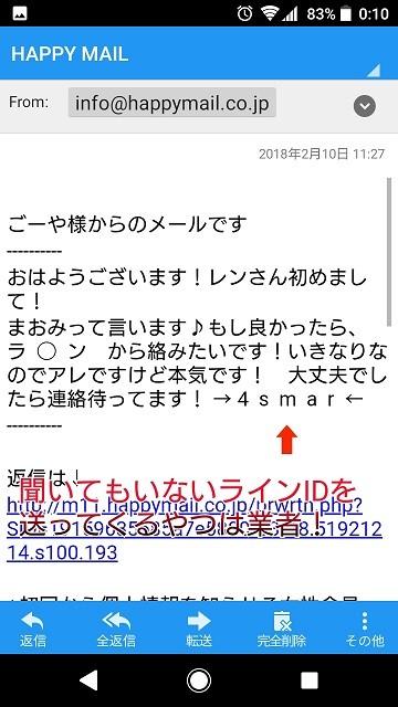 ハッピーメールLINE業者